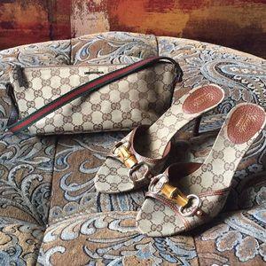 Gucci, 7 1/2B GG Logo Beige & Brown Sandals